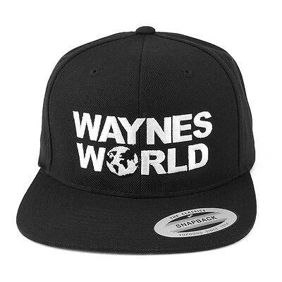 FLEXFIT Wayne's World Embroidered Snapback Cap - Black - FREE SHIP (Wayne's World Hat)