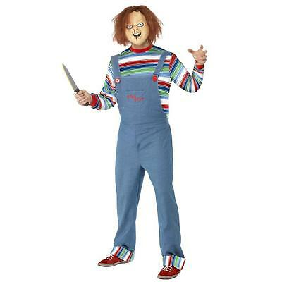 Official Mens Chucky Doll Fancy Dress Halloween Horror Costume Outfit Size M & L