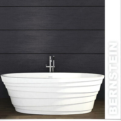 Freistehende Badewanne aus Mineralguss ATHENE STONE weiß - 180x90cm (Stone Freistehende Badewanne)