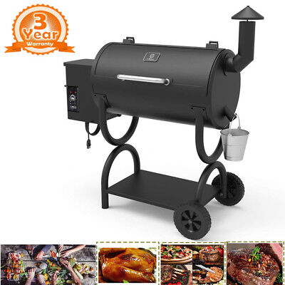 Wood Pellet BBQ Grill and Smoker w/ Digital Controls Outdoor Cooking 550SQ.IN