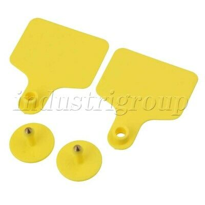 100x Yellow Livestock Blank Ear Tag Label For Dairy Cow Cattle Breed Population