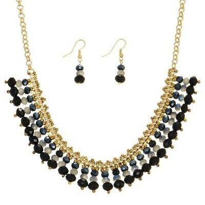 Bead Necklace Earring Set Gold Tone Black Gray Navy Blue Beads French Wires ()
