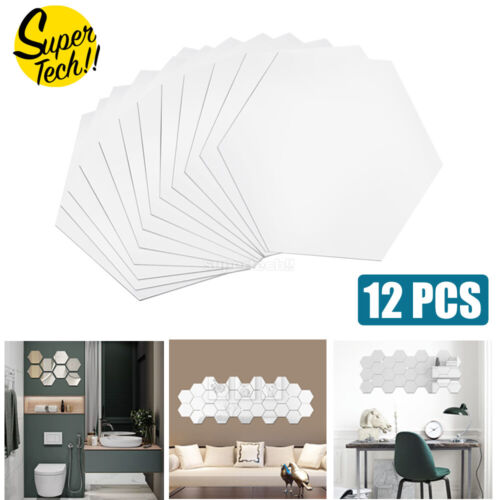 Home Decoration - 12PCS Mirror Hexagon Stickers Wall Home Decor DIY Art Removable 2 Sizes Room