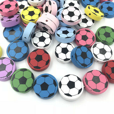 Football Spacer beads Wooden Beading Kids Toys Pacifier Clip Accessories 20mm (Football Beads)