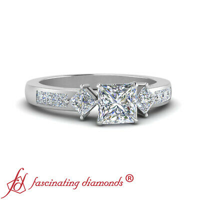 Channel Set 2 Ct Princess Cut Diamond Rings For Women Engagement GIA Certified