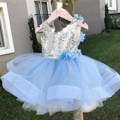 Flower Girl Princess Dress Kids Baby Party Wedding Bridesmaid Tulle Tutu - Baby Blue Flower Girl Dress