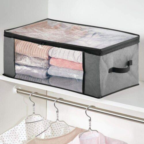 2pk Foldable Closet Storage Organizer Box Zipper Bag for Clothes Blanket Bedding