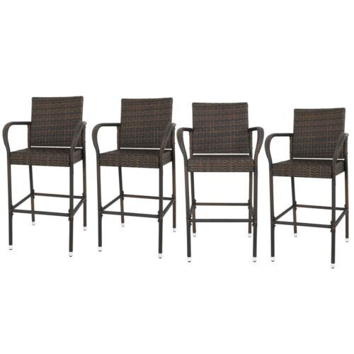 4PCS Rattan Wicker Barstool Furniture Bar Stool Indoor Outdoor Patio Brown Benches, Stools & Bar Stools