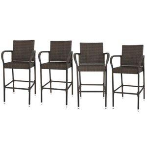 4pcs Brown Wicker Barstool Indoor Outdoor Patio Furniture All Weather Bar Stool