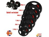 10kg - 20kg pairs 2'' Olympic Rubber Cast Iron Weights Plates TriGrip Disc Plate