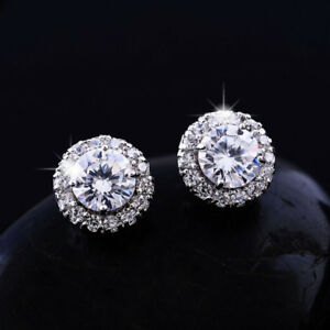 14k Real White Gold Filled Stud Earrings Made With 0 6 Carat Swarovski Crystals