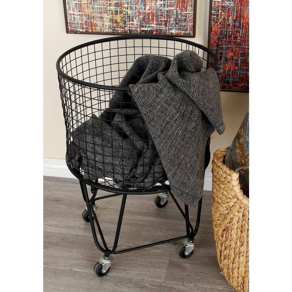 Rolling Metal Wire Laundry Basket Clothes Hamper Storage Bin