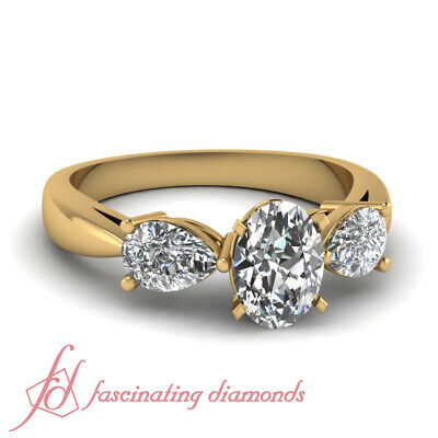 1.4 Ct Oval Shaped Yellow Gold 3 Stone Diamond Engagement Rings GIA Ring Sz 5-10