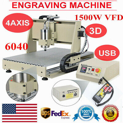 6040 Usb 4axis Cnc Router 1.5kw Vfd Engraving Milling Machine W Remote Control