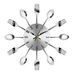 Modern Stainless Steel Knife Fork Wall Clock Analog for Home Office