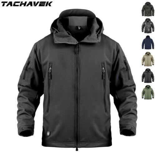 Waterproof Mens Soft Shell Jacket Army Military Fleece Coat Casual Camo Hooded