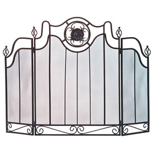 Decorative 3 Panel FIREPLACE Screen Wrought Iron Metal