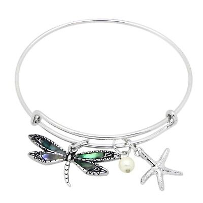 (Abalone Shell Bracelet Thin Charm Bangle Starfish DRAGONFLY Mother Pearl SILVER)