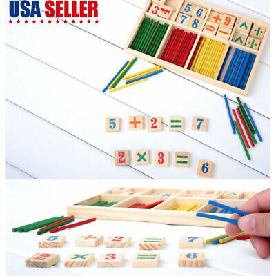 Math Intelligence Stick Counting Number Block Wooden Educational Learning Abacus