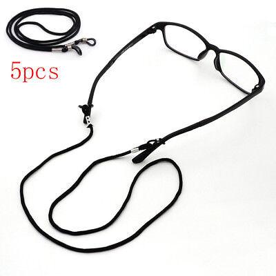 5 Pcs Nylon Cord Eyeglass/Sunglass Holder Chain Leash Adjustable Ends Black