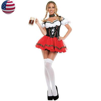 Women Oktoberfest Beer Girl Costume Halloween Bavarian Fancy
