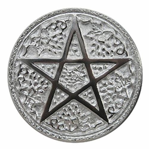 """NEW Harvest Pentacle Altar Tile 6"""" Large Pentagram Silver Plated Wicca"""