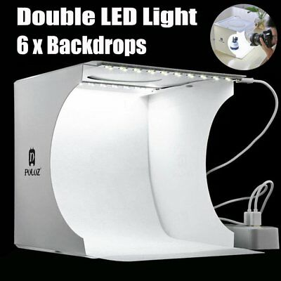 Doppel-LED-Lichtraum-Fotostudio-Fotografie-Beleuchtungs-Zelt-Hintergrund-Kasten
