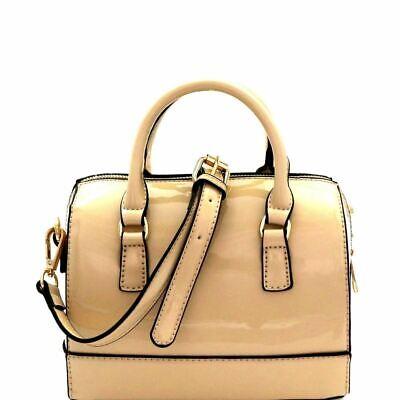 - Patent Medium 2-Way Boston Satchel Bag