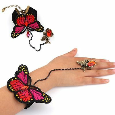Bead Embroidery Butterfly Bangle Wristband Lace Bracelet Ring Set Jewelry