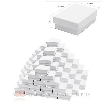 100 White Gloss Cotton Filled Gift Boxes 3 14 X 2 14 Jewelry Box