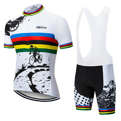 tanyho Short Sleeve white Men Bike Cycling Jersey Shirt GEL Bib Shorts Set -
