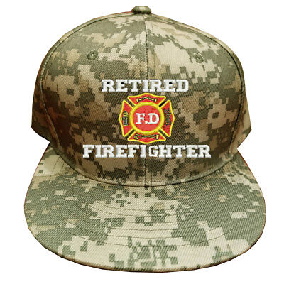 DIGITAL CAMOUFLAGE FLAT BILL SNAP BACK RETIRED FIREFIGHTER FD RETIRED