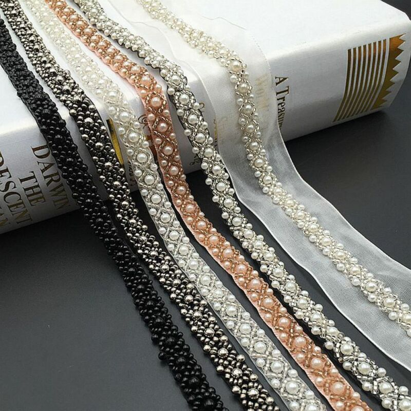 Beads Lace Trim White Black Ribbon Trims for Wedding Dress Sewing Accessories