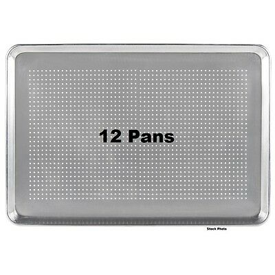 """12-Pack Pans 18"""" x 26"""" Perforated Full Size 19 Gauge Wire in Rim Aluminum Pans"""