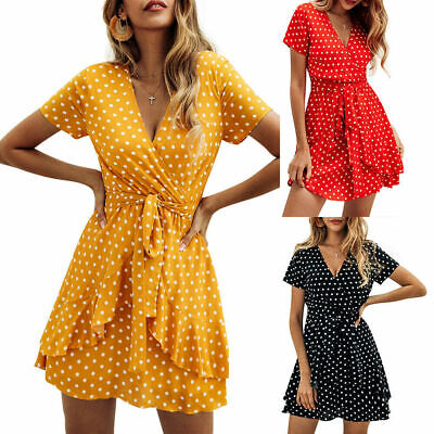 Women V Neck Wrap Mini Dress Ladies Summer Holiday Spotted Ruffle Sun Dresses 16