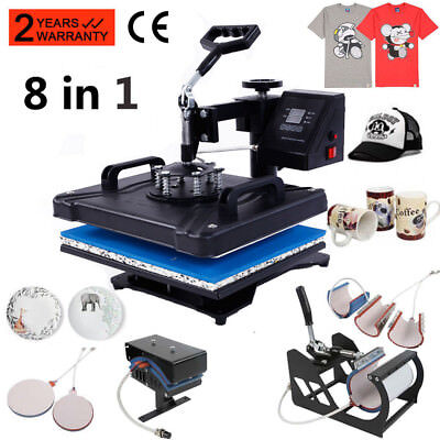 8 In 1 Heat Press Machine Digital Transfer Sublimation T Shirt Mug Hat Plate Cap