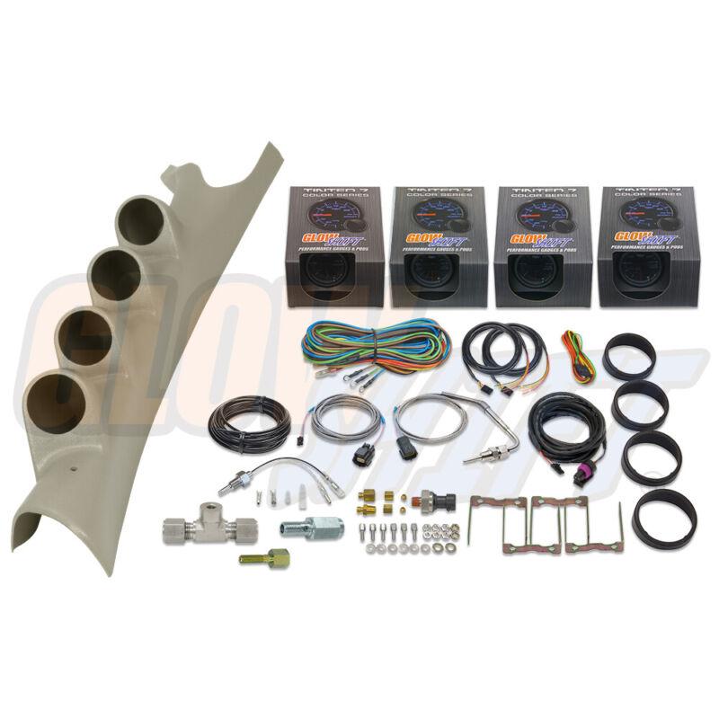 GlowShift T7 4 Gauge Diesel Set + Pod for 06-09 Dodge Ram Cummins 2500 3500