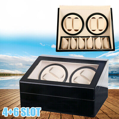 Deluxe 4+6 Automatic Rotation Wood Watch Winder Storage Display Case Box Holder