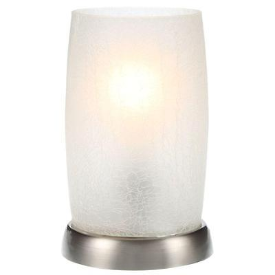 8.5'' Modern Table Lamp Metallic Silver Desk Night Lighting Frosted Glass Shade