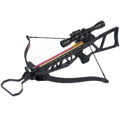 180 lb Black Hunting Crossbow Bow + 4x20 Scope + 7 Arrows / Bolts 175 150 80 50