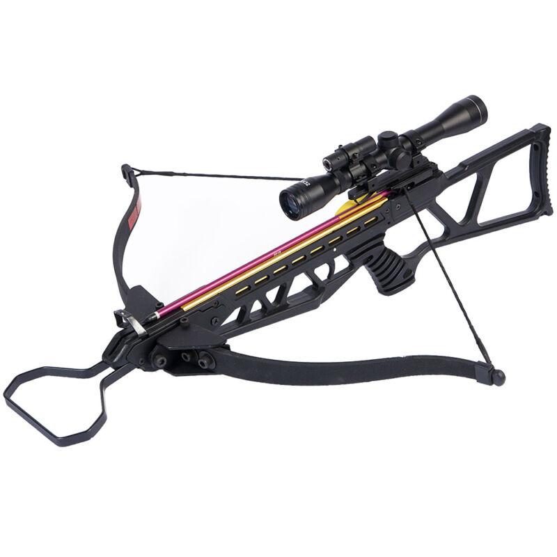 180 lb Black Hunting Crossbow Bow + 4x20 Scope + 7 Arrows / Bolts 175 150 80 50