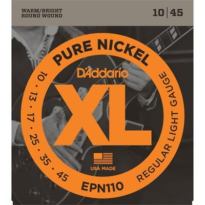 D'Addario EPN110 Pure Nickel Electric Guitar Strings - Regular Light 10-45
