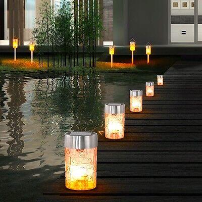 10er Set LED Solar Steck Leuchte Hänge Licht Erdspieß IP44 Garten Veranda Hof