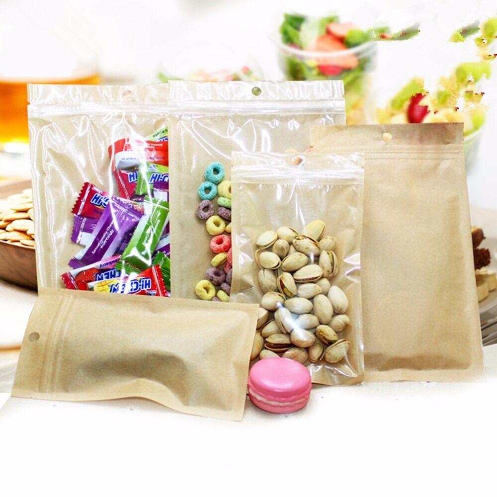 Clear Brown Flat Ziplock  Bags Plastic Kraft Paper Food Package with Hang Hole