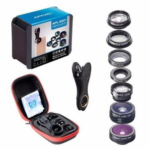 APEXEL 7 in 1 Phone Lens Kit Fisheye fish eye super Wide Angle macro Lens CPL Filter Kaleidoscope and 2X zoom Lens forsm