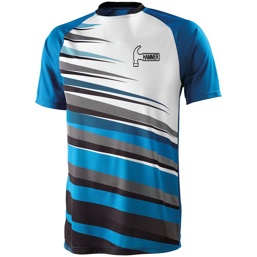 Hammer Men's Sauce Performance Jersey Bowling Shirt Dri-fit Power Blue