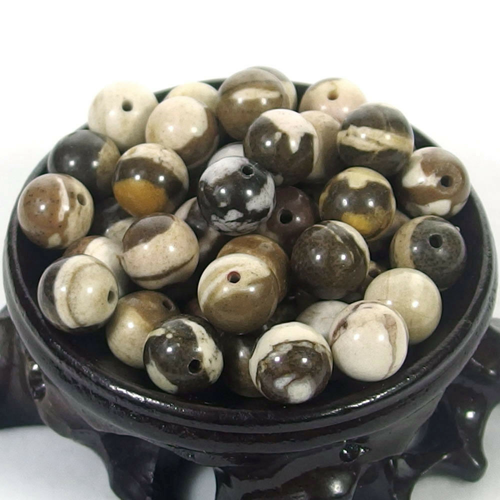 Bulk Gemstones I natural spacer stone beads 4mm 6mm 8mm 10mm 12mm jewelry design Austrailian zebra jasper