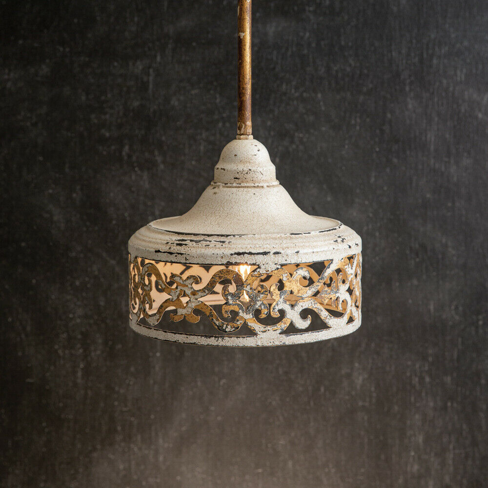 Rustic new Caroline Pendant Hang Light in distressed Tin