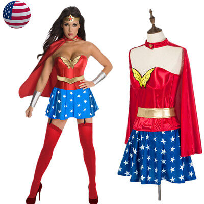 Halloween Adult Wonder Woman Corset Costume Super Hero Cosplay Fancy Dress - Wonder Woman Corset Costume