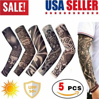 5 pcs Men Women Tattoo Cooling Arm Sleeves Cycling Basketball UV Sun Protection